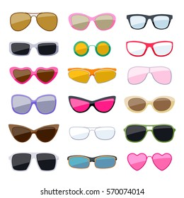 Set of colorful sunglasses icons. Fashion accessories.