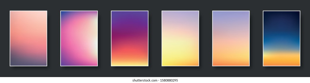 Set of colorful sunset and sunrise sea. Blurred modern gradient mesh background paper cards. Vector illustration.