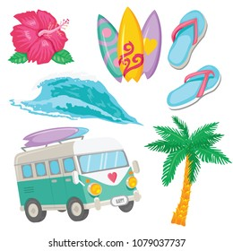 Set of colorful Surfing objects for web design or prints. Tropical flower, surfboards, van, wave, palm, flops