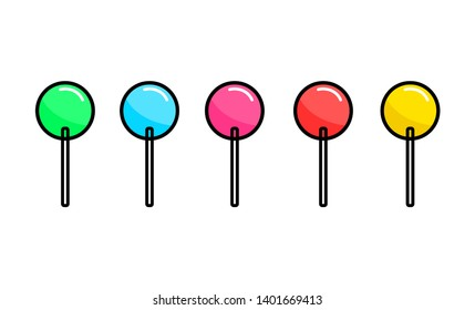 Set of colorful sweet cartoon lollipops. Vector illustration.