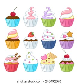 Set of colorful sweet cupcakes with decorations - berries, sprinkles, wafer, candies.