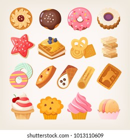 Set of colorful sweet desserts, cookies and other pastry. Isolated vector illustrations.