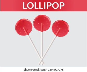 Set colorful sweet lollipops. Round candies on stick. Vector illustration. Lollipop Set, Vector Illustration. Big striped heart-shaped lollipop on a White background copy space.