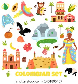 Set of colorful symbols, landmarks of Colombia. Perfect for advertising, tourist guides travel blogs books, atlases