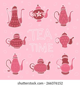 set of colorful teapots on a beige background