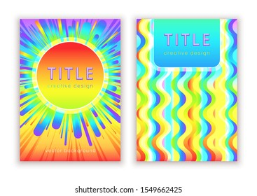 Set colorful template for cover design, vector abstract background. Multicolor rainbow very bright modern pattern in prism gradient shapes composition for creating flyers, banners, posters, card