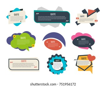 Set of colorful text templates quote bubbles, various forms, different shapes, blank templates, text, empty colorful speech bubbles. Vector illustration shape for your presentation, banners, flyers.