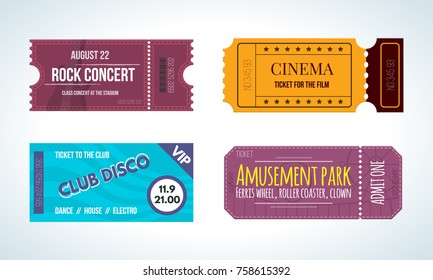Set of colorful tickets on various events: cinema, music rock concert, club disco, amusement park. Tickets, entertainment program, festival. Vector illustration vintage admission tickets templates.
