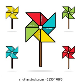 Set of colorful toy pinwheels line flat vector design