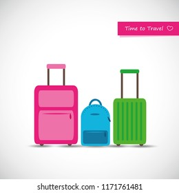 set of colorful travel suitcase pink blue and green vector illustration EPS10