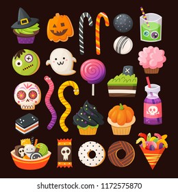 Set of colorful treats for a Halloween party. Decorated cupcakes, sugar cookies as halloween characters, drinks in acid colors. Vector sweets.