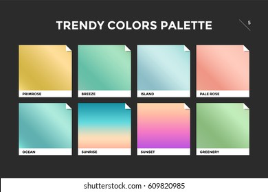 Set of colorful trendy gradient template. Collection palette of color metallic gradient illustrations for backgrounds and textures. Trendy colors squares palettes of new season. Vector Illustration