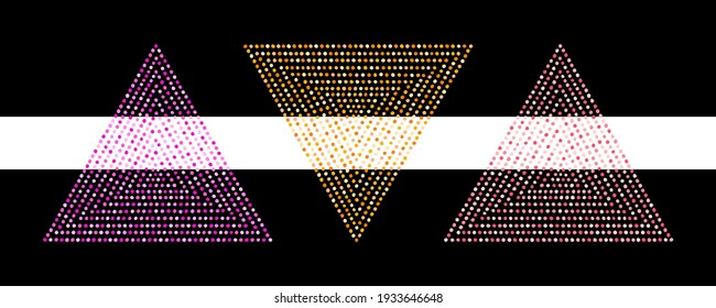 Set of colorful triangle, pyramid dot shapes, geometric graphic design elements. Frame templates. Dotted text backgrounds, mosaic decorations made of uneven spots, dots, hand drawn blobs, beads.