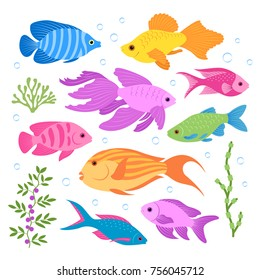 A set of colorful tropical fish. Flat style. Vector illustration.