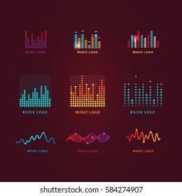 Set colorful ui ux music equalizer sound waves. Audio electronic bar.