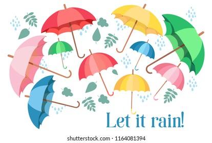 Set of colorful umbrellas