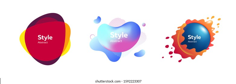 Set of colorful unique liquid shaped graphic forms. Design template for logo, flyer or presentation. Abstract form dynamic composition. Modern style vector illustration