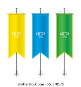Set of colorful vector banner flag templates hanging on a silver metallic poles. Yellow, blue and green gothic vertical flag mockups, isolated on a white background.