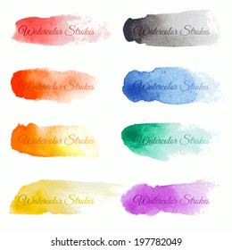 Set of colorful vector brush strokes