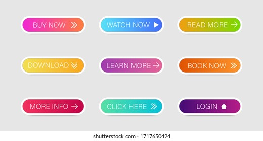 Set of colorful vector buttons for internet site. Buttons with arrows. Different color objects.