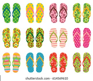 Set of colorful vector flip flops, beach sandals for summer holiday