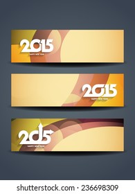 Set of colorful vector header designs of happy new year 2015.