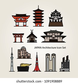 Set of colorful vector icons of Japanese architecture including a shrine, temple, torii gate, castle, and more.