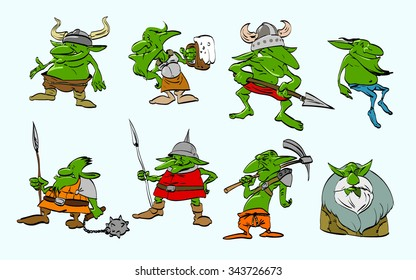 A set of colorful vector illustrations of green goblins.