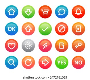 A set of colorful vector round icons for a internet shop or mobile app. Web design for business site menu on white background.