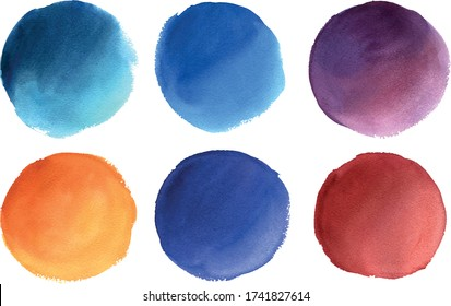 Set of colorful vector round watercolor elements. Hand drawn texturized circles isolated on white background. Ideal for postcards, greetings, websites, Instagram highlights
