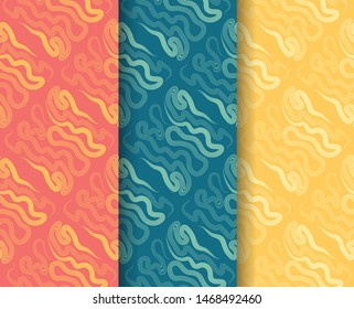 Set of colorful vector seamless abstract pattern with splashes. For textile, wallpaper, covers and print