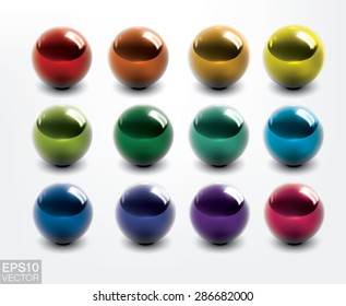 Set of colorful vector shiny balls.