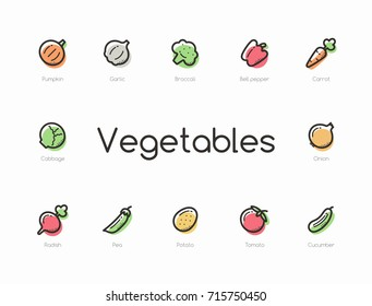 Set of colorful vegetables icons isolated on light background.