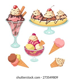 Set of colorful vintage isolated ice cream.