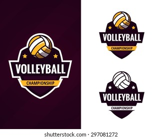 set of  colorful volleyball logo labels. Vector illustration.