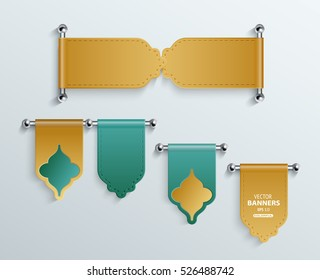 Set of colorful wall mounted belt shape sticker banners hanged by steel rods with arabesque elements