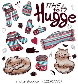 Set of colorful warm winter clothes in the style of Hugge. Collection of isolated objects in the style of Hugge. Winter scarf, winter hat, warm mittens and blanket, cocoa and fluffy cat.