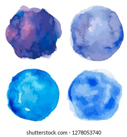 Set of colorful watercolor hand painted round shapes, stains, circles isolated on white. Illustration for artistic design. Vector illustration.