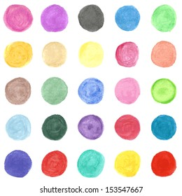Set of colorful watercolor hand painted circle isolated on white. Vector illustration for your artistic design. Round stains, blobs of red, green, yellow, pink.