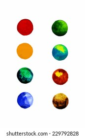 Set of colorful watercolor hand painted circle isolated on white. Vector format