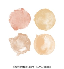 Set of colorful watercolor High Resolution hand painted round shapes, stains, circles, blobs isolated on white. Illustration for artistic design