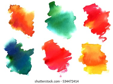 A set of colorful watercolor stains on white background, artistic textures for design, scalable vector graphic