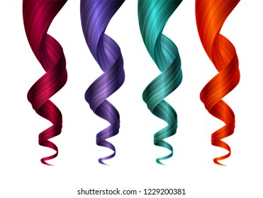 Set of Colorful Wavy Strands of Hair. Vector Realistic 3d Illustration. Design Element for Hairdressers, Beauty Salons, Hair Care Cosmetics, Shampoo, Conditioner or Hair Dye Packaging