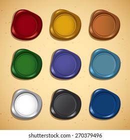 Set of Colorful Wax Seal : Vector Illustration