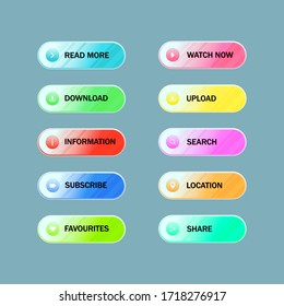 Set of colorful web button collection with flat design. Modern buttons for web site and ui.