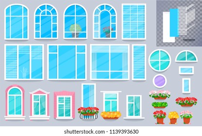Set of colorful windows in a flat cartoon style. Different types of decorative elements such as french balconet, blinds, curtains, sills, flower pots, frames, jalousie.