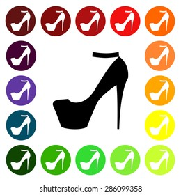 Set of colorful women's  high-heeled shoe icons. Vector illustration