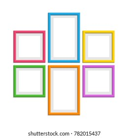 Set of colorful Wooden Frames. Wooden picture frame in flat style. Abstract coloured framework isolated on white background. Vector collection of color photo frames for your project. EPS 10.