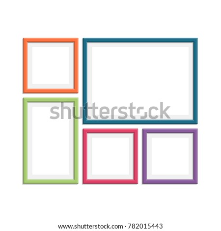 Set Colorful Wooden Frames Wooden Picture Stock Vector (Royalty Free ...
