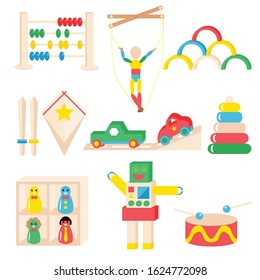 Set of colorful wooden toys vector